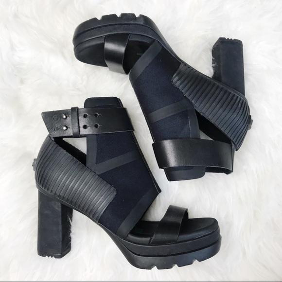 a08f620895d Sorel Medina Black Leather Rubber Platform Sandal